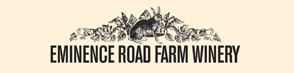 Eminence Road Farm Winery logo. A rabbit in front of a crown with grapevines in the background.